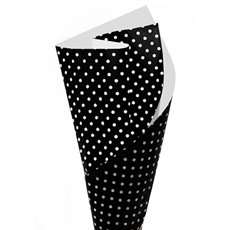 Regal Pearl Wrap Pattern - Cello Regal Dotiva 60mic White Dots on Black(50x70cm) Pk 100