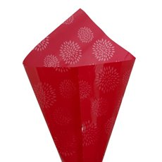 Cello Clear Geometric Flower 40mic 100Pack Red (50x70cm)