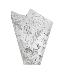 Cello Frosted Hand Drawn Leaves 40mic 100Pack Grey (50x70cm)
