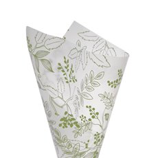 Cello Pattern - Cello Frosted Hand Drawn Leaves 40mic Moss(50x70cm) Pack 100
