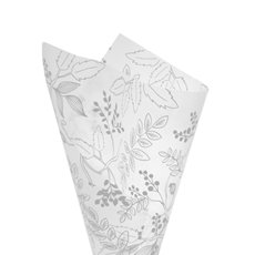 Cello Pattern - Cello Frosted Hand Drawn Leaves 40mic White(50x70cm)Pack 100