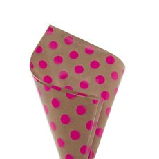 Cello Regal Kraft Bold Dots 65mic 100 Pack Hot Pink(50x70cm)