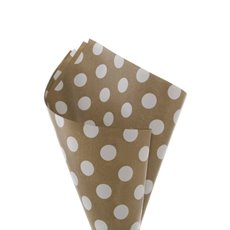Regal Pearl Wrap Pattern - Cello Regal Kraft Bold Dots 65mic White (50x70cm) Pack 100