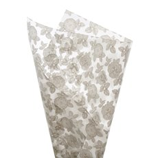 Cello Pattern - Cello Frosted Floral Stencil 40mic Grey (50x70cm) Pack 100
