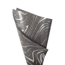 Regal Pearl Wrap Pattern - Cello Swirl Pattern 65mic Charcoal Platinum 50x70cm Pack100