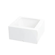Patisserie & Cake Boxes - Patisserie Square Window Box 9 Deep White (240x240x120mmH)