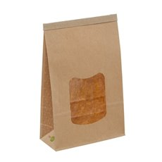 Tin Tie Window Bag Large Natural Kraft (155x70x242mmH)