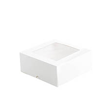 Patisserie & Cake Boxes - Patisserie Square Window Box 7 White (180x180x75mmH)