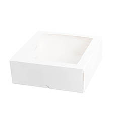 Patisserie & Cake Boxes - Patisserie Square Window Box 11 White (280x280x100mmH)