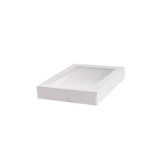 Patisserie & Cake Boxes - Patisserie Window Box Long Flat White (200x150x30mmH)