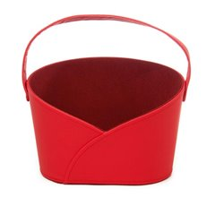 Hamper Basket Oval with Handle Red (26x17x18cmH)