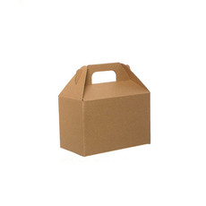 Cardboard Gourmet Box - Gable Box Flat packed Medium Brown Kraft (21.5x12x14cm)
