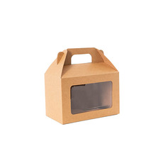 Cardboard Gourmet Box - Gable Box With Window Flat Pack Med Kraft Brn (21.5x12x14cm)
