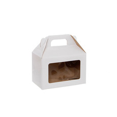 Cardboard Gourmet Box - Gable Box With Window Flat Pack Medium White (21.5x12x14cm)