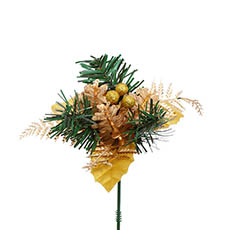 Christmas Picks - Christmas Pick with Pinecone 4 Pack Gold (12.5cmH)