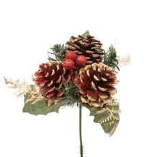 Christmas Picks - Christmas Pick with Pinecone 4 Pack Red (12.5cmH)