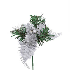 Christmas Picks - Christmas Pick with Pinecone 4 Pack Silver (12.5cmH)