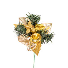Christmas Picks - Christmas Pick with Gift Box and Bell 4 Pack Gold (12.5cmH)