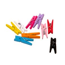 Decorative Pegs - Wooden Peg Assorted Colours (25mm) Pack 50