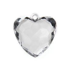 Charm Heart Large 35x36mm pk6 Clear