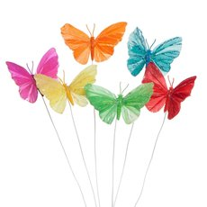 Butterfly Picks - Melissa Butterfly Pick Assorted (8cm) Pack 6