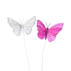 Butterfly Picks - Melissa Butterfly Pick Silver Hot Pink (8cm) Pack 6