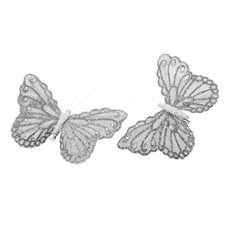 Butterfly Clip (12.5cm) with Diamond Pack 6PC Silver