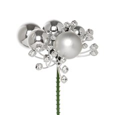 Christmas Pick Bling Baubles 4 Pack Silver (7.5cmH)