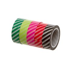 Gift Tags & Labels - Washi Tape Diagonal Stripes Assorted Colours(15mmx10m) Pk5
