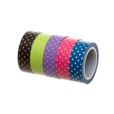 Gift Tags & Labels - Washi Tape Dots Assorted Colours PK5 (15mmx10m)