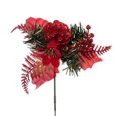 Christmas Pick Pine Poinsettia 4 Pack Red (12.5cmH)