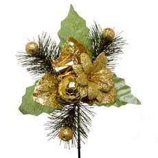 Pick Christmas Flower 4 Pack Gold (15cmH)