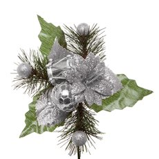 Christmas Pick Flower 4 Pack Silver (15cmH)