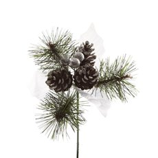 Christmas Picks - Christmas Pick with Pinecones 4 Pack Silver (12.5cmH)