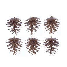 Christmas Tree Decorations - Artificial Pinecone Pack 6 PVC Brown (5cmH)