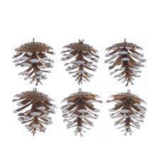 Artificial Pinecone Pack 6 PVC Brown Snow (5cmH)
