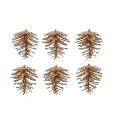 Artificial Pinecone Pack 6 PVC Gold (5cmH)