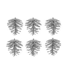 Christmas Tree Decorations - Artificial Pinecone Pack 6 PVC Silver (5cmH)