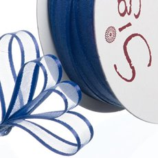 Organza Ribbons - Ribbon Organdy Satin Edge Navy (10mmx20m)