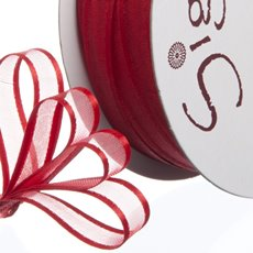 Organza Ribbons - Ribbon Organdy Satin Edge Red (10mmx20m)