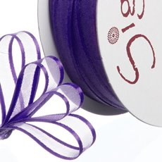 Organza Ribbons - Ribbon Organdy Satin Edge Violet (10mmx20m)