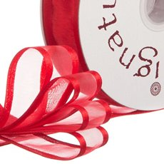 Organza Ribbons - Ribbon Organdy Satin Edge Red (23mmx20m)