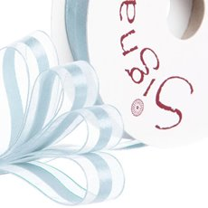 Organza Ribbons - Ribbon Organdina Satin Stripes Baby Blue (15mmx20m)