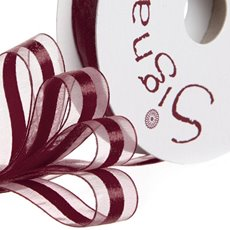 Organza Ribbons - Ribbon Organdina Satin Stripes Burgundy (15mmx20m)