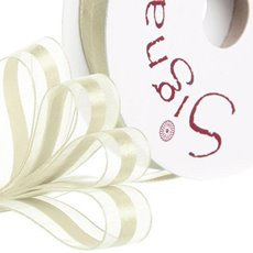 Organza Ribbons - Ribbon Organdina Satin Stripes Cream (15mmx20m)