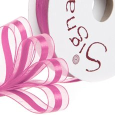 Organza Ribbons - Ribbon Organdina Satin Stripes Hot Pink (15mmx20m)