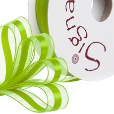 Ribbon Organdina Satin Stripes Lime (15mmx20m)