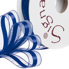 Organza Ribbons - Ribbon Organdina Satin Stripes Navy (15mmx20m)