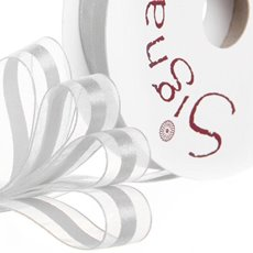 Organza Ribbons - Ribbon Organdina Satin Stripes Silver (15mmx20m)