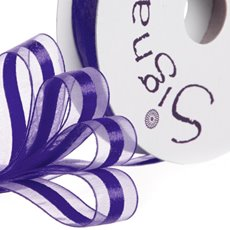 Organza Ribbons - Ribbon Organdina Satin Stripes Violet (15mmx20m)
